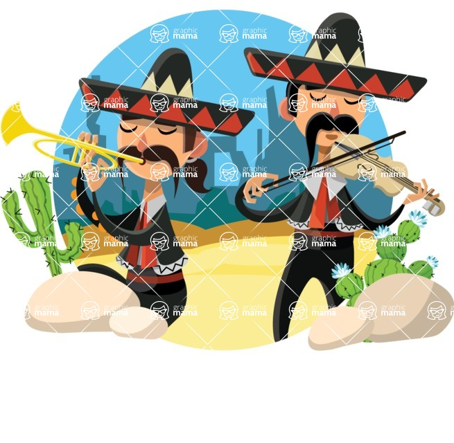 Mexico Vectors - Mega Bundle - Mariachi Musicians in Mexican Desert