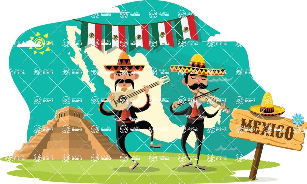 Mexico Vectors - Mega Bundle - Mariachi Musicians at Mayan Pyramid