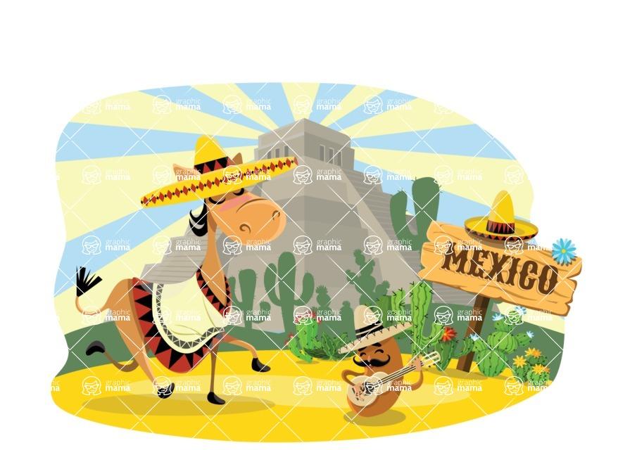 Mexico Vectors - Mega Bundle - Mexican Donkey and Potato in Desert