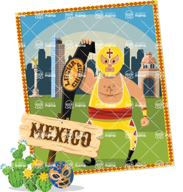 Mexico Vectors - Mega Bundle - Wrestler in Mexico City