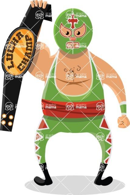 Mexico Vectors - Mega Bundle - Mexican Wrestler with Belt