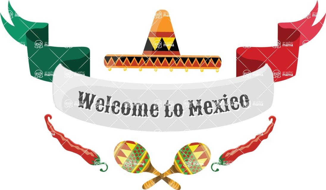 Mexico Vectors - Mega Bundle - Welcome to Mexico Ribbon
