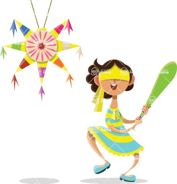 Mexico Vectors - Mega Bundle - Mexican Girl Breaking a Pinata