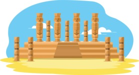 Mexico Vectors - Mega Bundle - Mayan Columns Temple