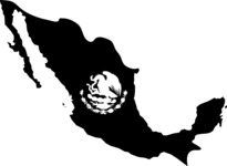 Mexico Map and Coat of Arms Silhouette