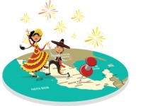 Mexican Dancers on a Map