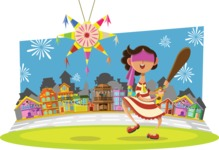 Mexico Vectors - Mega Bundle - Kid Playing a Pinata