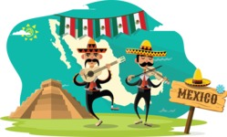 Mexico Vectors - Mega Bundle - Mariachi Musicians at Mayan Pyramid