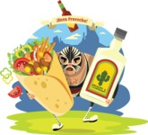 Mexico Vectors - Mega Bundle - Mexican Wrestler with Burrito and Tequila