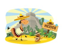 Mexico Vectors - Mega Bundle - Mexican Donkey and Potato in Desert