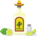 Mexico: Hola, Amigo - Tequila Bottle and Limes