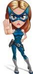 Pretty Superhero Woman with Mask Cartoon Vector Character AKA Angelina Justice - Stop 2