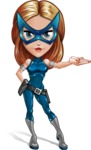 Pretty Superhero Woman with Mask Cartoon Vector Character AKA Angelina Justice - Show 2