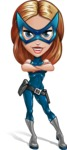Pretty Superhero Woman with Mask Cartoon Vector Character AKA Angelina Justice - Confident 2