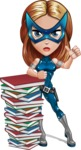 Pretty Superhero Woman with Mask Cartoon Vector Character AKA Angelina Justice - Books
