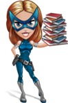 Pretty Superhero Woman with Mask Cartoon Vector Character AKA Angelina Justice - Books 3