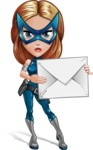 Pretty Superhero Woman with Mask Cartoon Vector Character AKA Angelina Justice - Letter 1