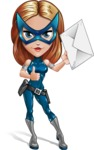 Pretty Superhero Woman with Mask Cartoon Vector Character AKA Angelina Justice - Letter 2