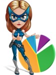 Pretty Superhero Woman with Mask Cartoon Vector Character AKA Angelina Justice - Chart