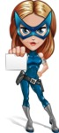 Pretty Superhero Woman with Mask Cartoon Vector Character AKA Angelina Justice - Presentation 1