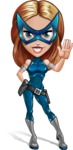 Pretty Superhero Woman with Mask Cartoon Vector Character AKA Angelina Justice - Hello