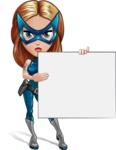 Pretty Superhero Woman with Mask Cartoon Vector Character AKA Angelina Justice - Presentation 3