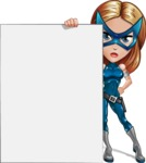 Pretty Superhero Woman with Mask Cartoon Vector Character AKA Angelina Justice - Presentation 5