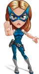 Pretty Superhero Woman with Mask Cartoon Vector Character AKA Angelina Justice - Angry 1