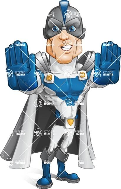 Retired Superhero Cartoon Vector Character AKA Space Centurion - Stop1