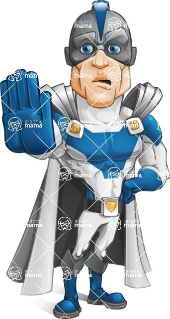 Retired Superhero Cartoon Vector Character AKA Space Centurion - Stop 2