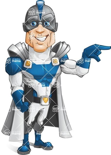 Retired Superhero Cartoon Vector Character AKA Space Centurion - Point1