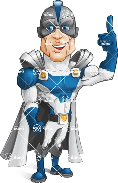Retired Superhero Cartoon Vector Character AKA Space Centurion - Attention