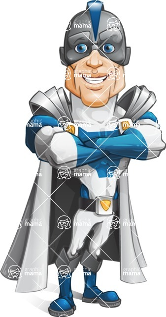 Retired Superhero Cartoon Vector Character AKA Space Centurion - Confident2