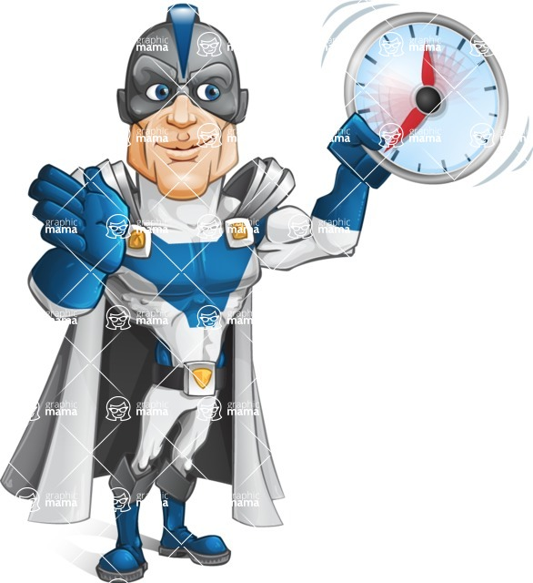 Retired Superhero Cartoon Vector Character AKA Space Centurion - Time is Yours