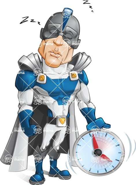 Retired Superhero Cartoon Vector Character AKA Space Centurion - Time to Sleep