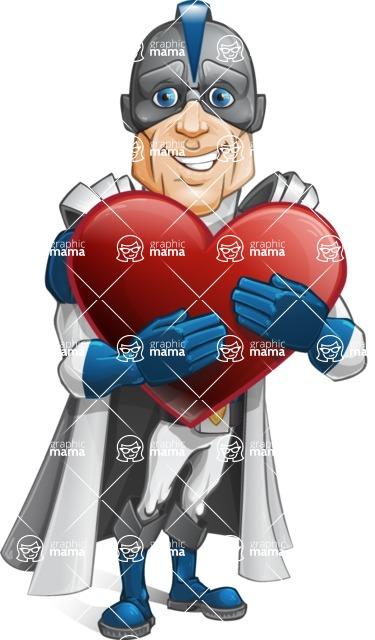 Retired Superhero Cartoon Vector Character AKA Space Centurion - Love
