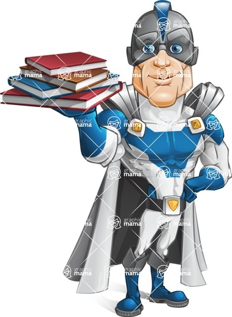 Retired Superhero Cartoon Vector Character AKA Space Centurion - Books 2