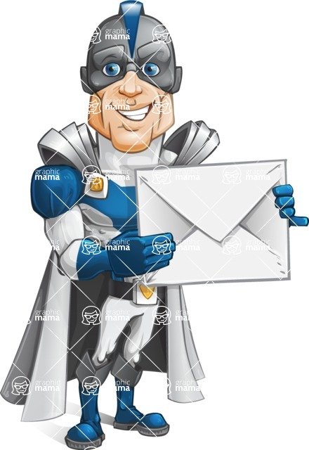 Retired Superhero Cartoon Vector Character AKA Space Centurion - Letter1