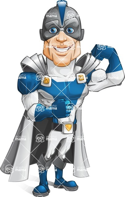 Retired Superhero Cartoon Vector Character AKA Space Centurion - Super Strong
