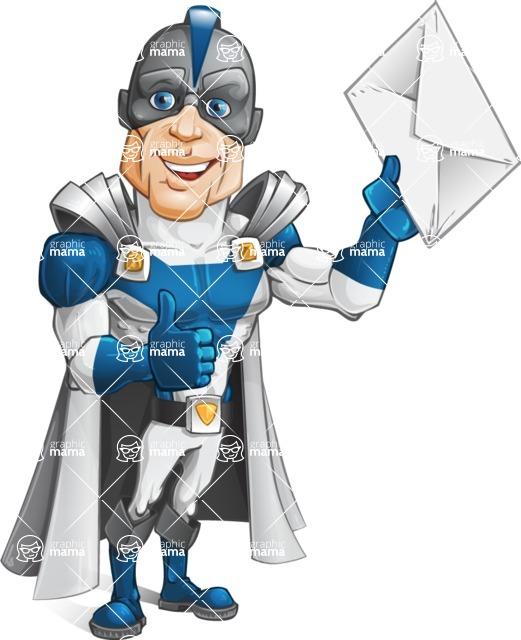 Retired Superhero Cartoon Vector Character AKA Space Centurion - Letter 2