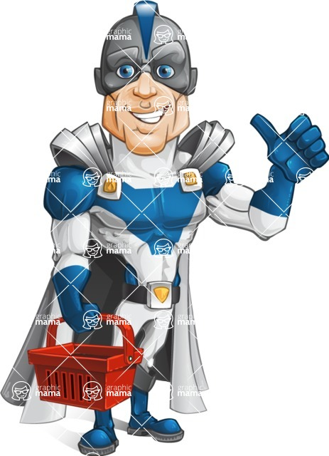 Retired Superhero Cartoon Vector Character AKA Space Centurion - Shopping