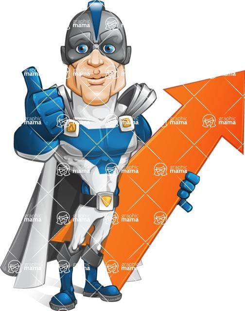 Retired Superhero Cartoon Vector Character AKA Space Centurion - Arrow