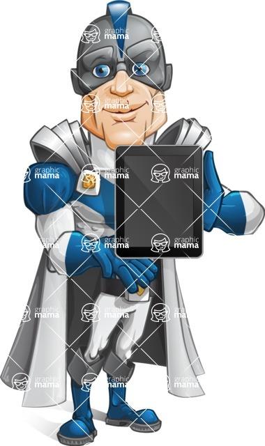 Retired Superhero Cartoon Vector Character AKA Space Centurion - Tablet 2