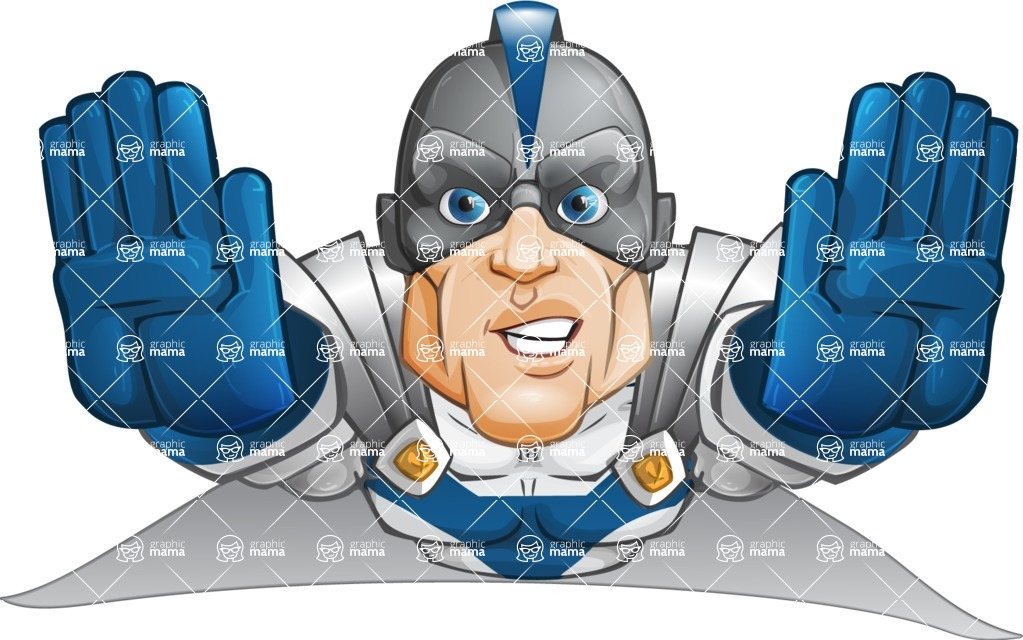 Retired Superhero Cartoon Vector Character AKA Space Centurion - Fly 3