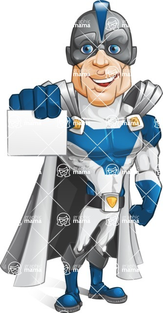 Retired Superhero Cartoon Vector Character AKA Space Centurion - Presentation 1