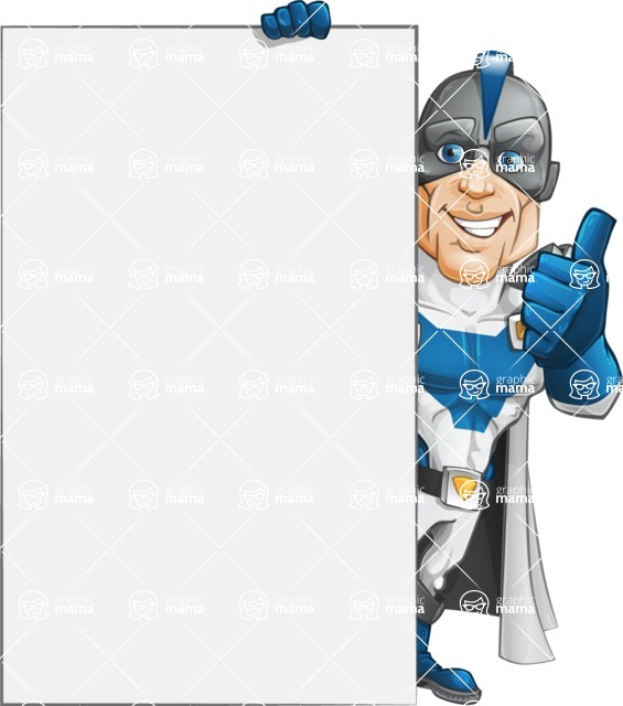 Retired Superhero Cartoon Vector Character AKA Space Centurion - Presentation 5
