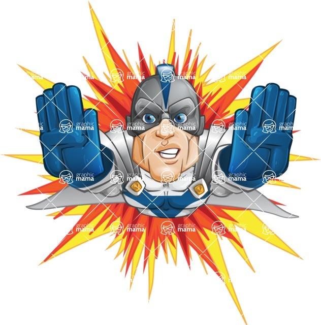 Retired Superhero Cartoon Vector Character AKA Space Centurion - Shape 3