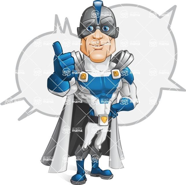 Retired Superhero Cartoon Vector Character AKA Space Centurion - Shape 5