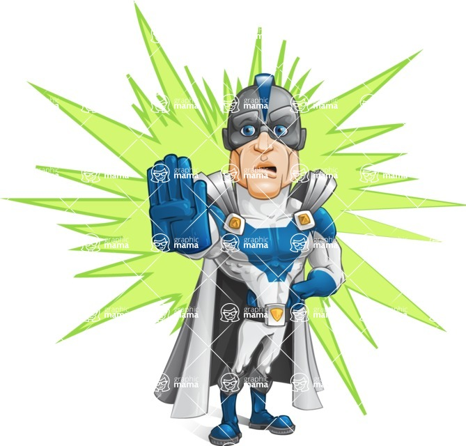 Retired Superhero Cartoon Vector Character AKA Space Centurion - Shape 9