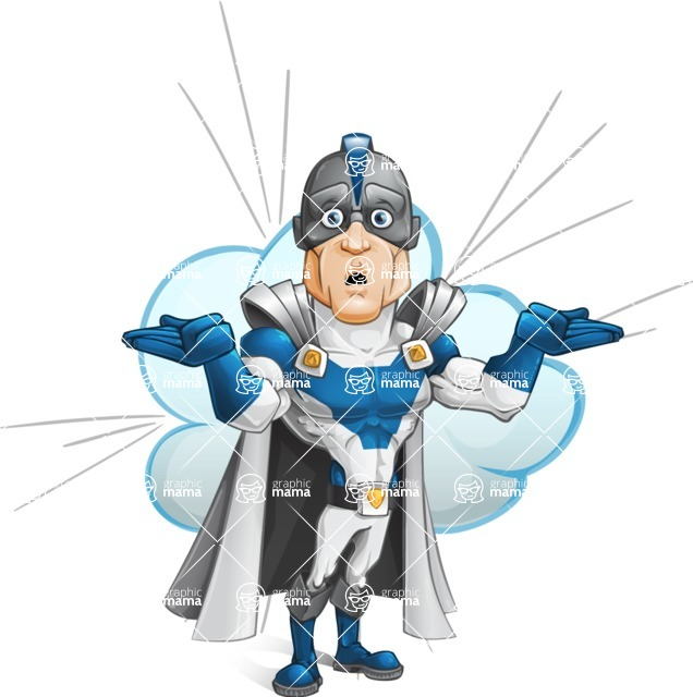 Retired Superhero Cartoon Vector Character AKA Space Centurion - Shape 10